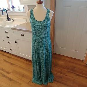 MICHAEL KORS Green Print Sleeveless Maxi Dress L